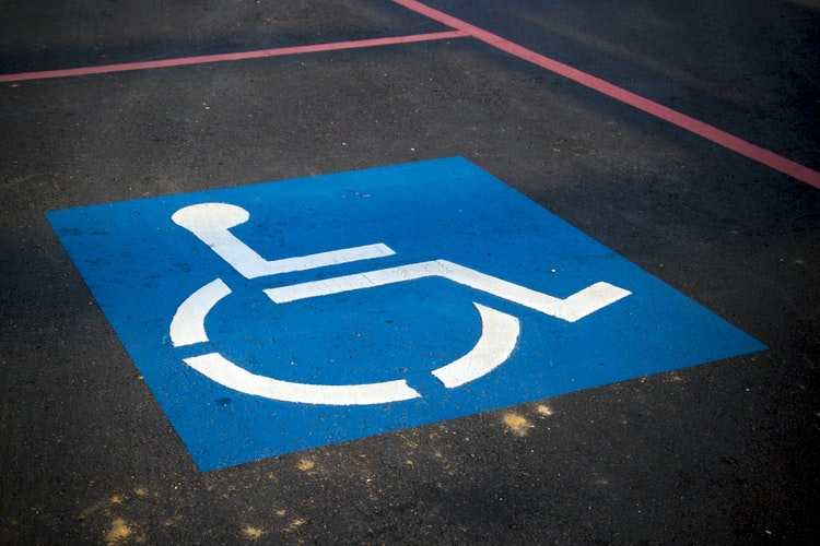 Photo of an empty disabled parking bay