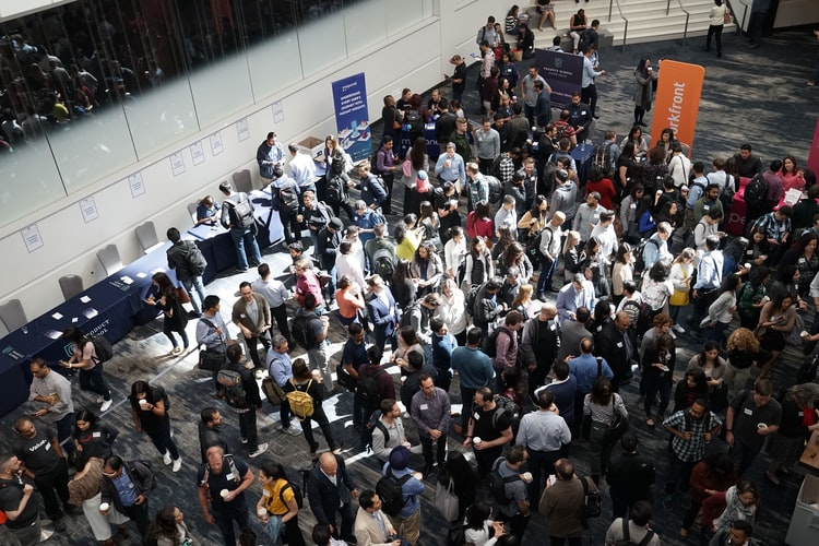 overhead photo of a crowd at a conference