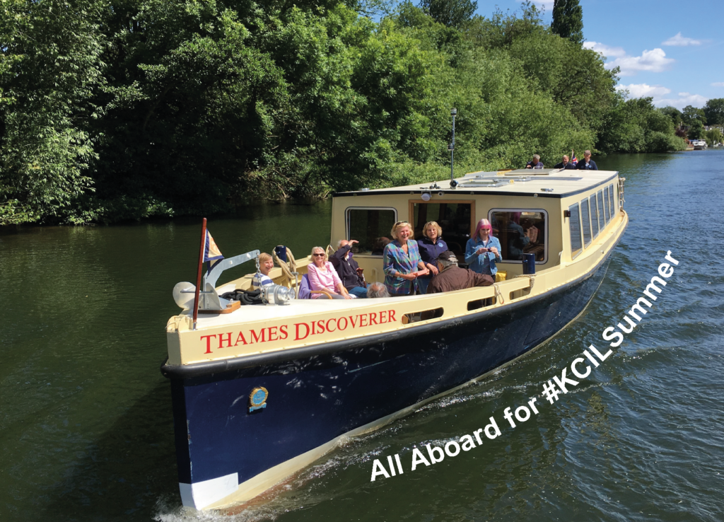 Photo of the Thames Boat Project boat on the river, with the text 'All aboard for #KCILSummer'