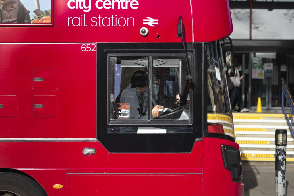 Close up view of the side of a London bus