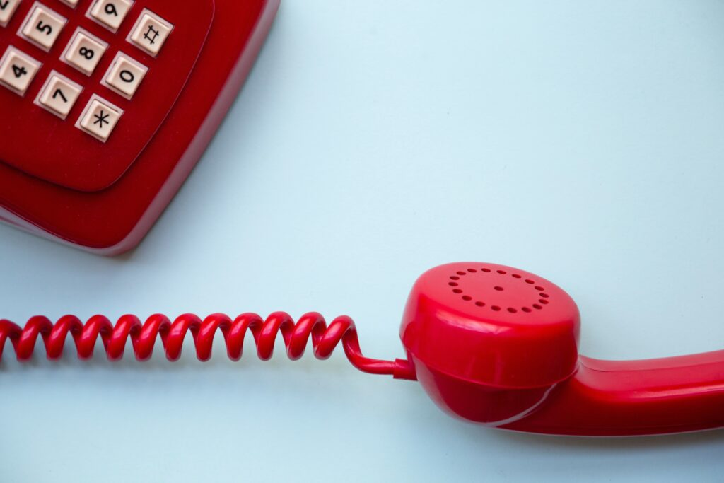 Close up photo of an old push button phone