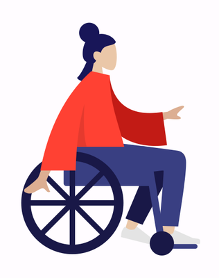 Illustration of woman sitting in a wheelchair