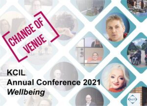 KCIL annual conference postcard, with an illustrated stamp on top that reads 'Change of Venue'