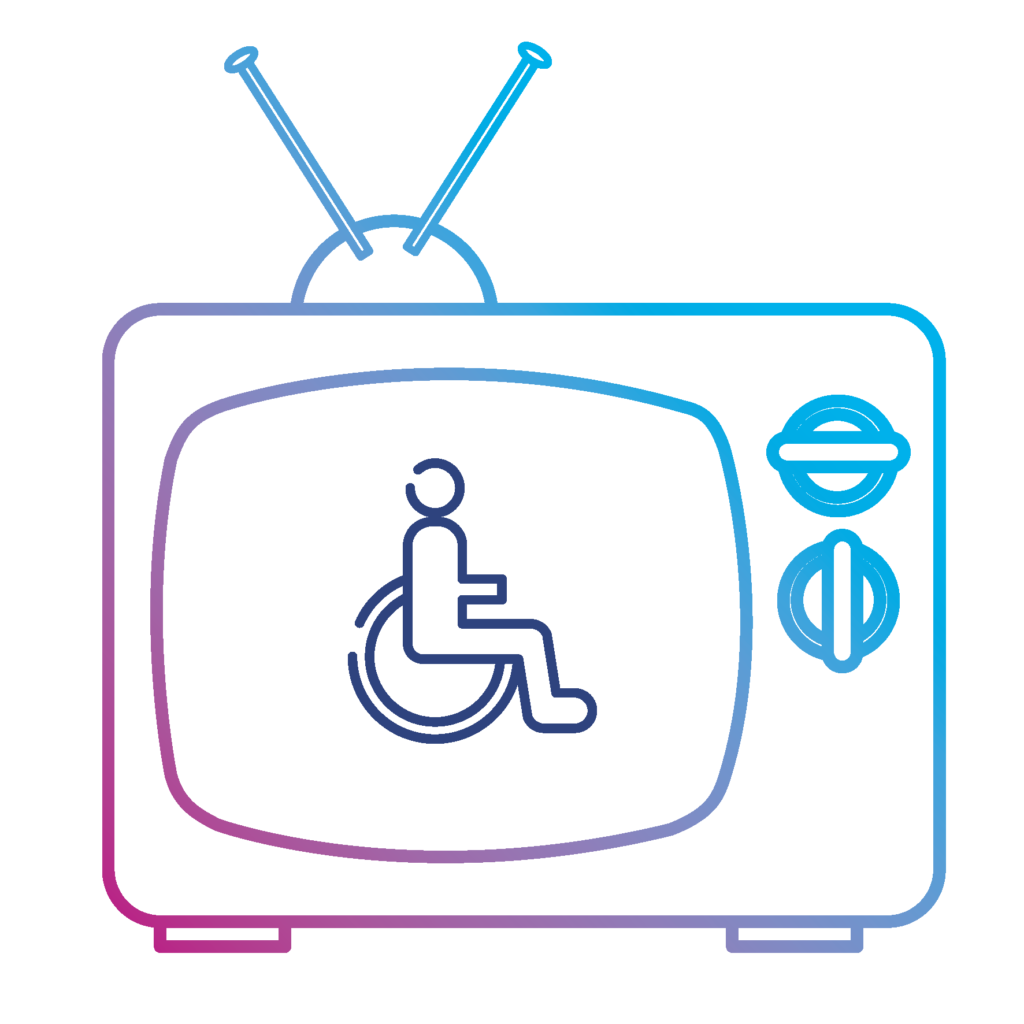 Illustration of wheelchair symbol on a simple line illustration of an old fashioned TV